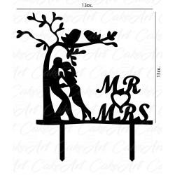 Topper Mr & Mrs 13x13εκ. Μαύρο πλέξιγκλας