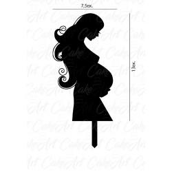 Topper Γυναίκα Έγκυος 13x7,5εκ. Μαύρο πλέξιγκλας