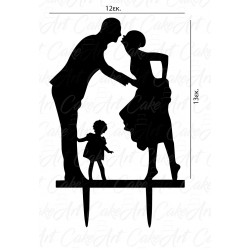 Topper ζευγάρι με παιδί 12x13εκ. Μαύρο πλέξιγκλας
