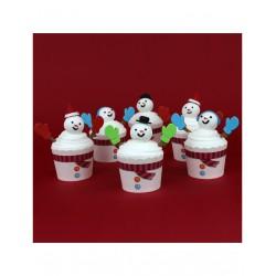 Σετ 6 Τεμ. Διακόσμησης Cupcake Χιονάνθρωπου