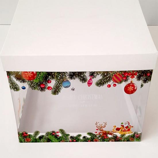 Χριστουγεννιάτικο Κουτί PVC Gelatin Τετράγωνο 22 x 22 x Y18εκ. κατάλληλο για τρόφιμα