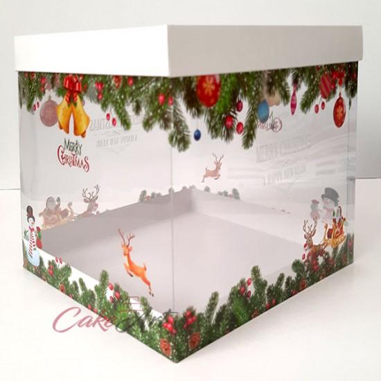 Χριστουγεννιάτικο Κουτί PVC Gelatin Τετράγωνο 25 x 25 x Y26,5εκ. κατάλληλο για τρόφιμα