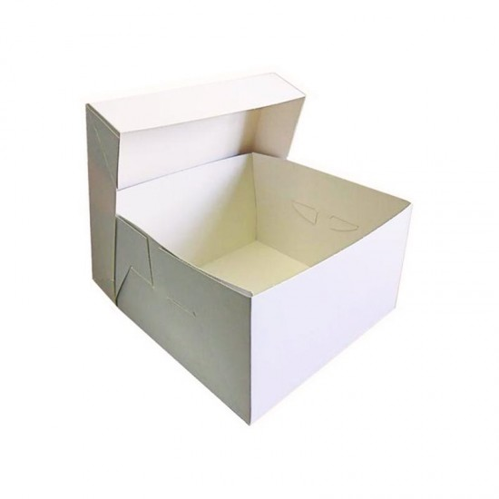 Λευκό κουτί μεταφοράς τούρτας 25x25xY15,2εκ.