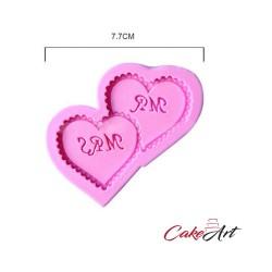 Καρδιές με Μονογράμματα - Διπλό Καλούπι Σιλικόνης για Ζαχαρόπαστα και Σοκολάτα