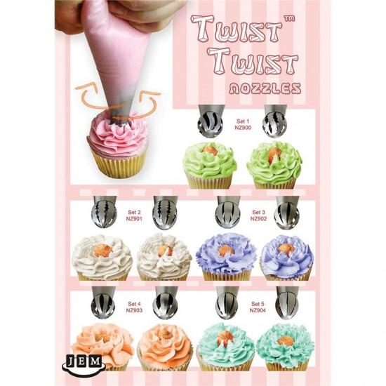 Σετ 2 Κορνέ Twist Twist Μεσαίο πλάτος - Ευθύ Οδοντωτό -12T-13T