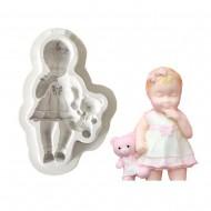 Κοριτσάκι με κούκλα 9cm - Καλούπι σιλικόνης