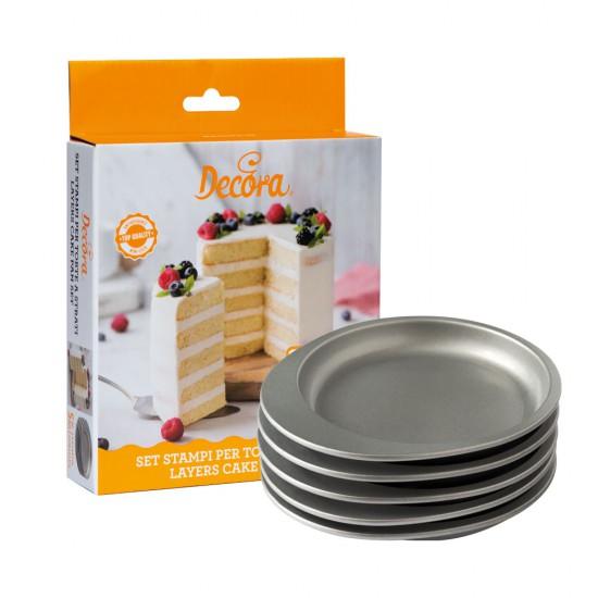 Σετ 5 Τεμ. φόρμας σε στρώσεις στρογγυλό για κέικ 15 x 15 x 2 - Decora
