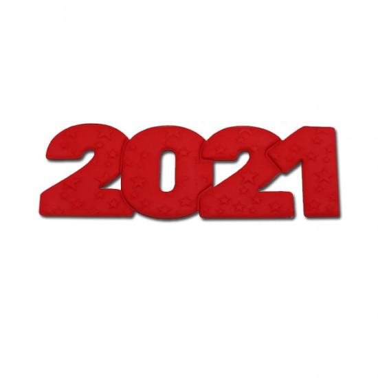 2021 Διακοσμητικά Ζαχαρόπαστας 12x4εκ. - Κόκκινο 3Τεμ. & 100Τεμ.