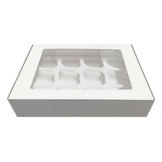 Λευκό Κουτί για 12 Cupcakes / Muffins με παράθυρο