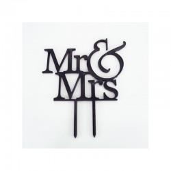 Topper Mr & Mrs 12εκ. Μαύρο πλέξιγκλας