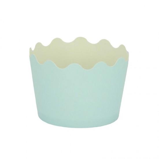 Κυπελάκια Cupcakes με καραμελόχαρτο Μικρά Δ5,7xΥ4εκ. - Γαλάζιο - 65τεμ
