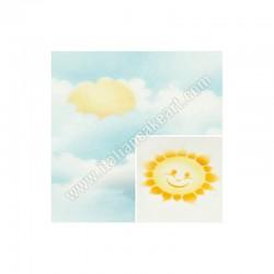 Διακοσμητικό Στένσιλ - Ήλιος & Σύννεφα
