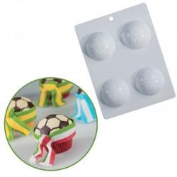 Πλαστικό καλούπι Μπάλας Ποδοσφαίρου για cupcakes Ø6,5εκ. Η2,3εκ.